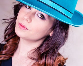 Women's Hat, Women's Trilby, Women's Fedora, Teal Trilby with Black Trim - Emma