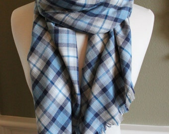 Light Blue, Turquoise, and White Plaid Flannel Blanket Scarf