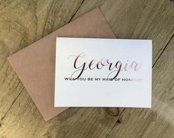 Personalised rose gold 'will you be my maid of honour?' card, rustic wedding