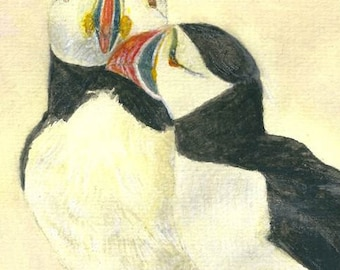 A Puffin Painting. A Seabird Illustration. Cute Puffin Art. Love Birds Print. Puffins Kissing. Wild Bird Painting.