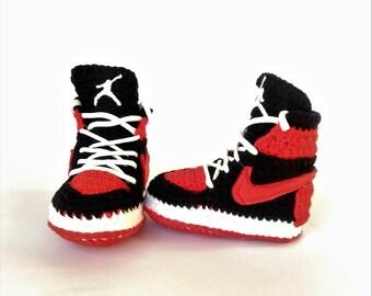 Air Jordan Baby Crochet Sneakers, Nike Air Jordan Shoes, Red Air Jordan House Shoes, Nike Toddler Air Jordan Retro Shoes, Newborn Bootie