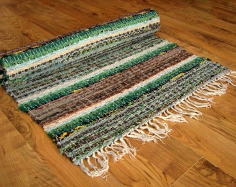 Swedish Vintage rag rug with fringes Large striped floor runner Hand woven rustic Recycled cotton Scandinavian carpet