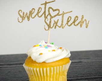sweet 16, cupcake toppers, teen party, theme cake topper,cake topper, birthday decoration, birthday decor, cupake, toppers, decoration