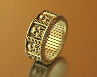 skull wedding ring mens skull ring geek wedding ring terminator ring cyberpunk - Mens Skull Wedding Rings