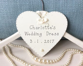 Personalised Wedding Dress Hanger - Bridesmaid Hanger Plaque, Wedding Decor, Wedding Plaques, Wedding Day Gift.
