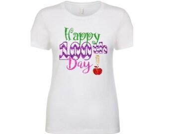 100 days of school shirt|100th day of school teacher shirt |Happy 100th Day|100th day of school shirt short sleeve crew neck shirt