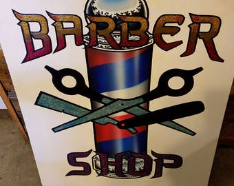Custom hand painted candy letter Barber sign