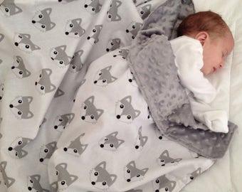 Fox Baby Blanket - grey minky - white minky - modern baby swaddle, woodland nursery, grey wolf blanket, minimalist nursery, hygge, UK seller