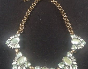 Vintage style antique look cut glass statement necklace