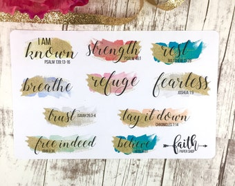 Christian Planner Stickers Scripture Stickers, Happy Planner, ECLP, MAMBI, Illustrated Faith, Bible Journaling, Bible Verse