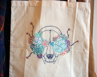 Bag in canvas/tote bag illustrated skull and succulent