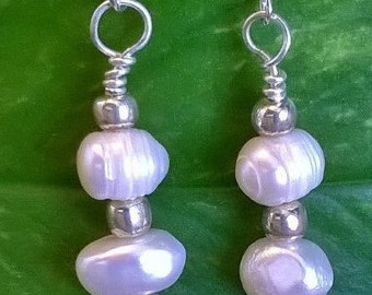 Freshwater Pearl Drop Earrings, Pearl Earrings, Elegant Earrings, Wedding Jewelry, White Pearl