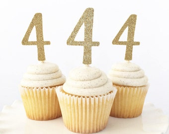 4th Birthday Cupcake Toppers / Four Years Old Birthday Party Decorations / Fourth Birthday