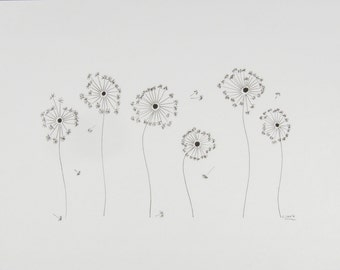 Dandelions, art, drawing, abstract, geometry, illustration, decoration, living, wall decoration, black, white, ink, Fineliners, type