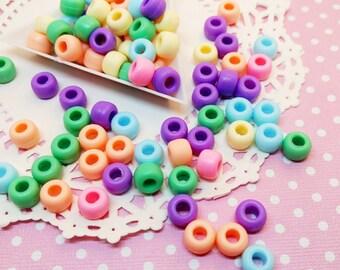 50pc Large Pastel Mixed Color Matte Finish 9mm Plastic Pony Beads Kawaii Plastic Beading Jewelry Craft DIY