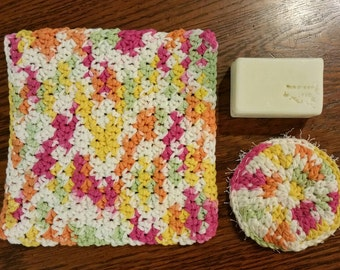 SPA BATH SET With Facial Scrubby, Scrubby Washcloth and Bar of Handmade Cold Process Soap. Choose Your Color. Choose Your Scent. Great Gift!