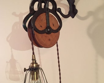 Vintage Barn Pulley Light with Cast Iron Wall Hook