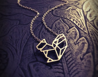 Origami squirrel necklace,geometrical Necklace,pendant necklace,animal jewelry,boho necklace,squirrel necklace,cut out necklace,