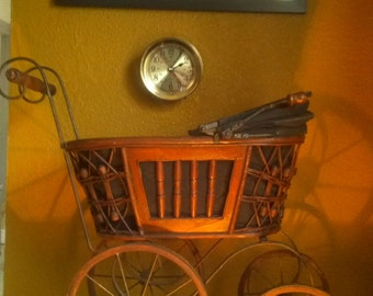 Vintage Victorian-Style Rattan Wicker Baby Doll Carriage