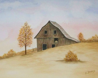 Old Barn on Hill, realistic watercolor painting of an old barn on a hillin the fall.
