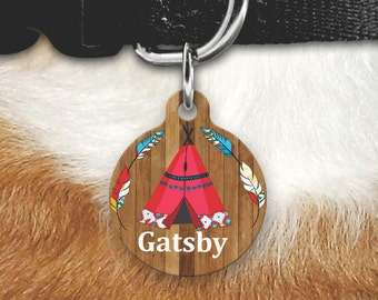 Tribal Dog Tag for Dogs, Faux Wood Dog Tag, Wood Pet Id Tag, Boho Dog Tag, Custom Pet Id Tag, Custom Dog Tag, Tribal Pet Tag, Tribal Pet ID