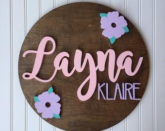 "18"" Round Wood Sign, Nursery Sign, Wood Name Sign, Wood Cutout, Nursery Decor, Custom Wood Sign"