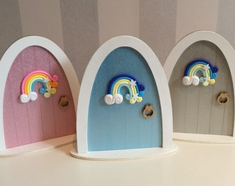Fairy door, free-standing fairy door, over the rainbow fairy door, wooden fairy door, magical door, room decor, fairy, rainbow, gift