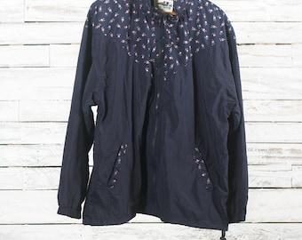 Vintage floral windbreaker | Spring flowers windbreaker | Vintage flowers jacket | Floral windbreaker