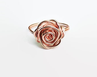 Rose Gold Rose Ring, Rose Gold Ring, Flower Ring, Rose Shaped Ring, Rose Gold Stacking Ring, Best Friend Ring, Gift For Her, Bridesmaid Gift