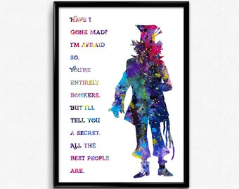Alice in Wonderland inspired, Mad Hatter with Quote, Tea time, Kids Room Decor, Home Decoration, gift, Print, Wall Art (110e)