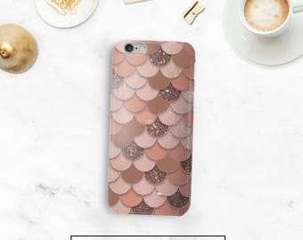 Rose Gold Mermaid Case, 7 Case Glitter, Rose Gold Samsung S8, iPhone 5s Case, Google Pixel, Durable Case, 6s, Phone Case, iPhone 6 Plus
