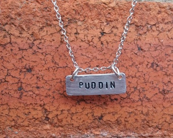 PUDDIN necklace handmade chain hand stamped HARLEY QUINN superhero gift dc comics the joker heathen girlfriend gift silver for her Free Post