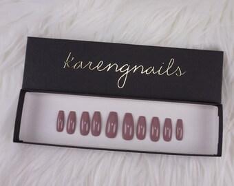 Mauve | Press On Nails | Glue On Nails | False Nails | Any Shape | Handpainted
