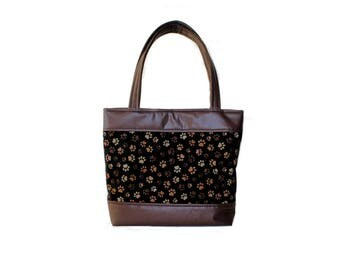 Brown Paw Print Purse - Paw Print Handbag - Fabric - Vinyl - Pleather - READY TO SHIP