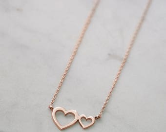 Double Heart Necklace, Rose Gold Heart, 14k Gold Necklace, Rose Gold, Women's Necklace, Gift For Her, Dainty Heart Necklace, Gold Love Heart