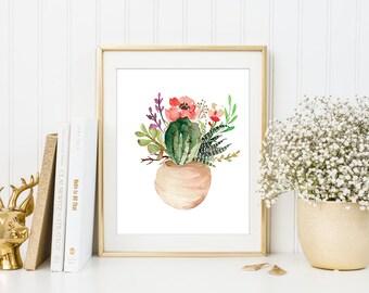 Cactus printable, printable art, cactus art, succulent art, house warming decor, potted cactus, watercolor succulent, succulent printable