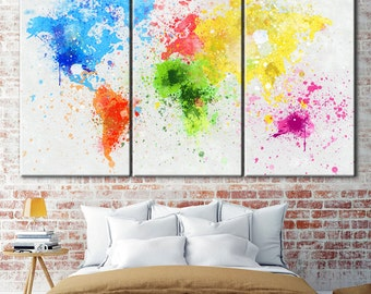 Colorful World map, Colorful map, World map wall art, Abstract World map, Colorful wall art, World map wall decor, Canvas Print World Map