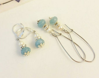aquamarine earrings, pearl and aquamarine earrings, bridesmaid earrings, bridal earring, something blue, mother's day gift, prom earrings