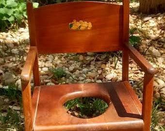 Vintage Mid-1950 Child's Wooden Potty Chair with original price sticker