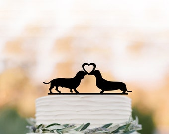 dachshund dogs wedding cake topper, dog silhouette cake topper with heart