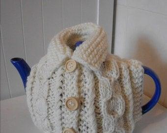 Handmade Aran cardigan teapot cosy/ Knitted Aran cardigan/ Knitted teapot cosy/Teapot cozy/Handmade teapot cosy/ Cardigan teapot cosy