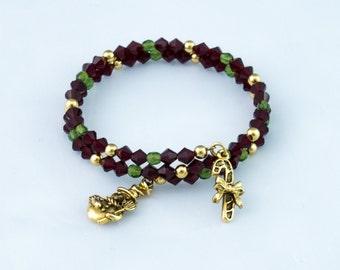 Deep red Christmas Bracelet, charms Christmas bracelet, adjustable Christmas bracelet, green and red Christmas bracelet bangle