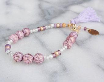 Gold and Purple Beaded Bracelet, Initial Bracelet, Tassel Bracelet, Adjustable, Stamped Metal, Charm Bracelet
