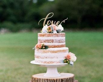 Gold Cake Topper Love .Wedding Gold Cake Topper.