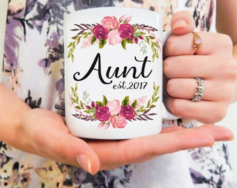 Personalized Aunt Mug | Gifts for Aunts, Baby Announcement, Sister Gift, Pregancy Announcement Mug, Aunt To Be, New Aunt Mug, Gift Ideas
