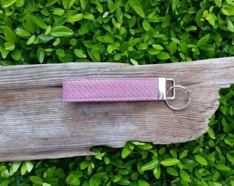 Purple and white geometric key fob   key lanyard   key wristlet   key chain