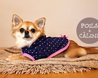 Navy Hoodie MEDIUM for small dog, clothing with polka dots and Pink for dog and cat, inner coat for pet
