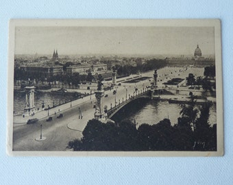 The Alexander III Bridge and Invalids Esplanade Paris France Postcard, French Vintage Postcard from Paris, Postcard from 1910's, Sepia Brown