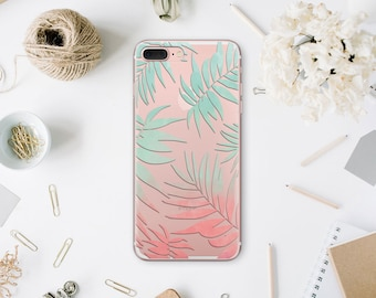 iPhone 8 Clear Case Tropical Leaves iPhone 7 Case Iphone 6 Plus iPhone 6S Plus Phone Case For Samsung s8 Case For Galaxy s6 Edge Case WA1029