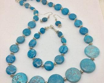 Turquoise Gemstone Necklace Set